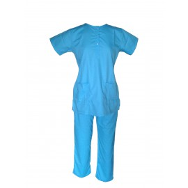 Female U-Neck Scrub Suit Aqua Blue