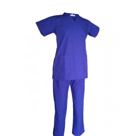 Female V-Neck Scrub Suit Bright Blue