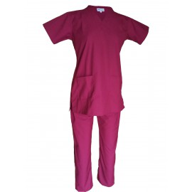 Female V-Neck Scrub Suit Magenta