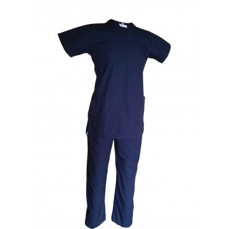 Female V-Neck Scrub Suit Olive Blue