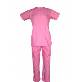 Female V-Neck Scrub Suit Coral Pink